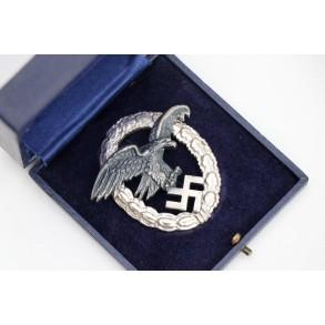 """Luftwaffe observer badge by F.A. Assmann & Söhne""""A"""" + box MINT"""
