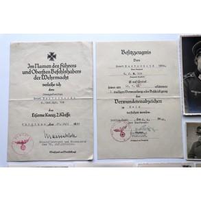 Wound badge in gold grouping to Uffz. E. Burtscheid, IR124, Chisiau 1941