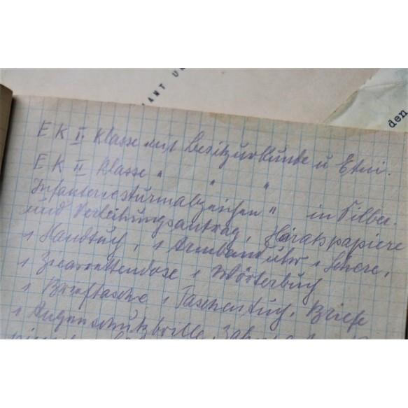 KIA grouping go Gefr. A. Quetsch, Jäger Regiment 229, award documents, heldentod document, photos, diary,..
