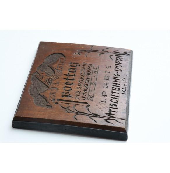 """POW camp Livingston-Houma Sport plaque for table tennis """"1st prize""""  28.5.44"""