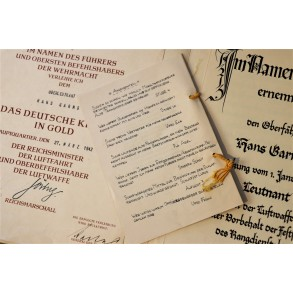 German cross in gold award document to Hans Garms, Kampfgeschwader z.b.V. 1, Crete, Stalingrad!