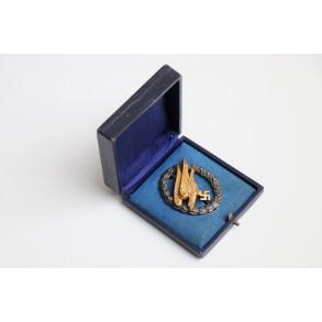 "Luftwaffe paratrooper badge by Gebr. Wegerhoff ""GWL"" + box"