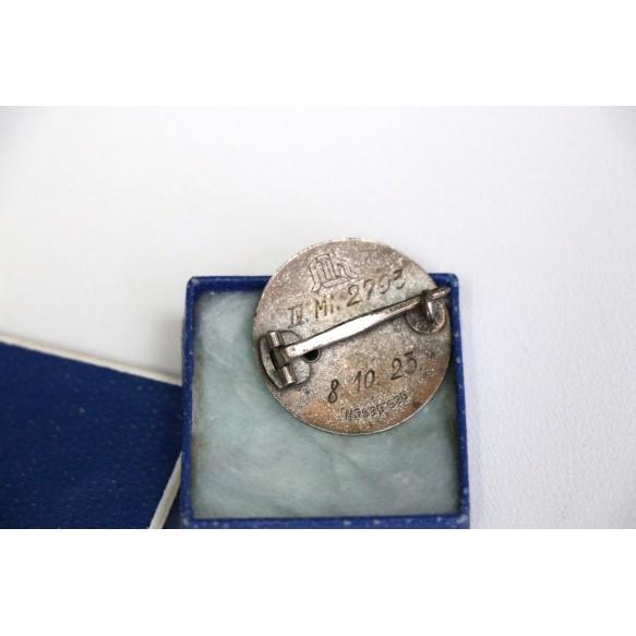 "Stahlhelmbund service entry badge 1923 ""925"" silver + box"