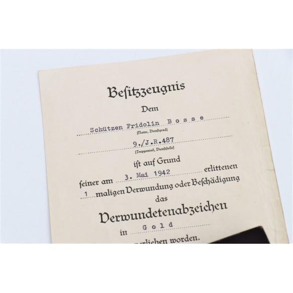 "Wound badge in gold by Hauptmünzamt Wien ""30"" + box + award document"