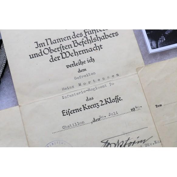 Grouping to Gefr. H. Mortensen, IR90 (mot), IAB bronze, EK2, WBiB
