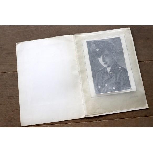 Period enlarged photo of Flemish SS volunteer August Claes (KIA 14.7.45) by photographer J.M. Mertens, Antwerp