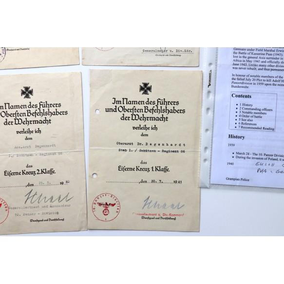 Grouping to Oberarzt Dr. Degenhardt, SR86, 10.Pz Div. Ek1, ek2, pab bronze, wbib. 1940