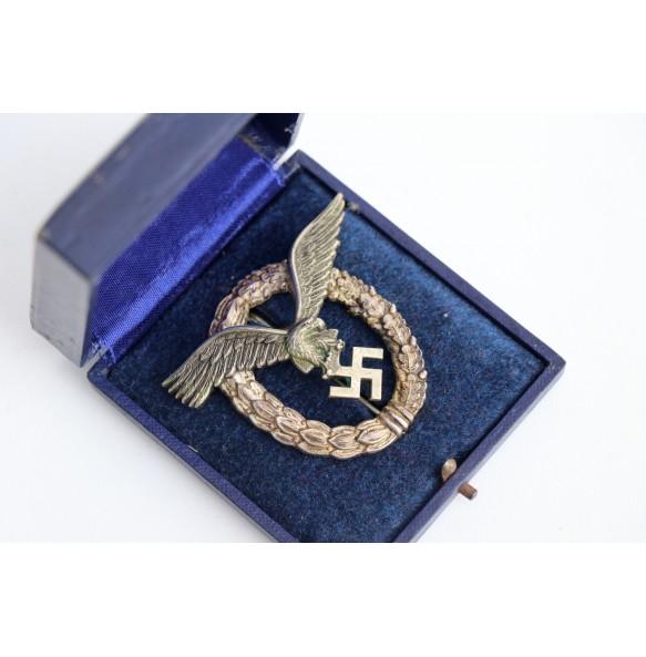 """Luftwaffe pilot badge by Gebrüder Wegerhoff """"GWL"""" + box"""