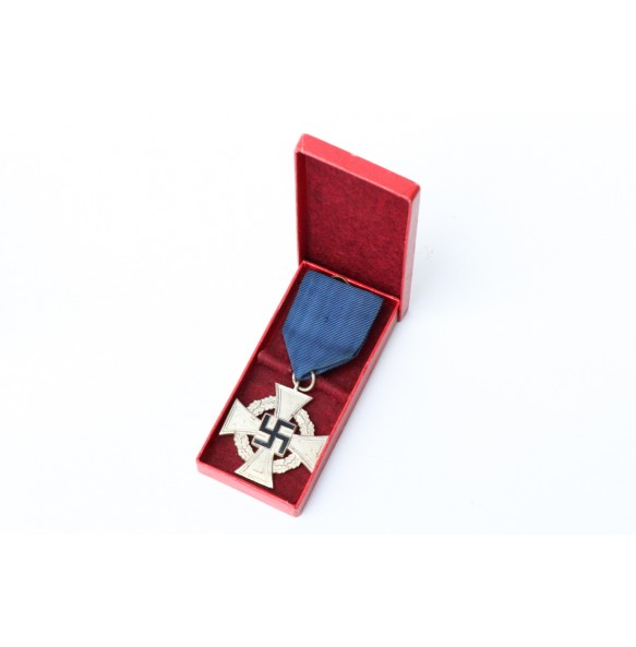25 year civil service cross in box + ribbon bar