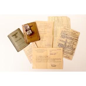 Soldbuch + Wehrpass to O.Gefr. W. Kaufmann, Festungsbat. 664, Lappland shield + award document