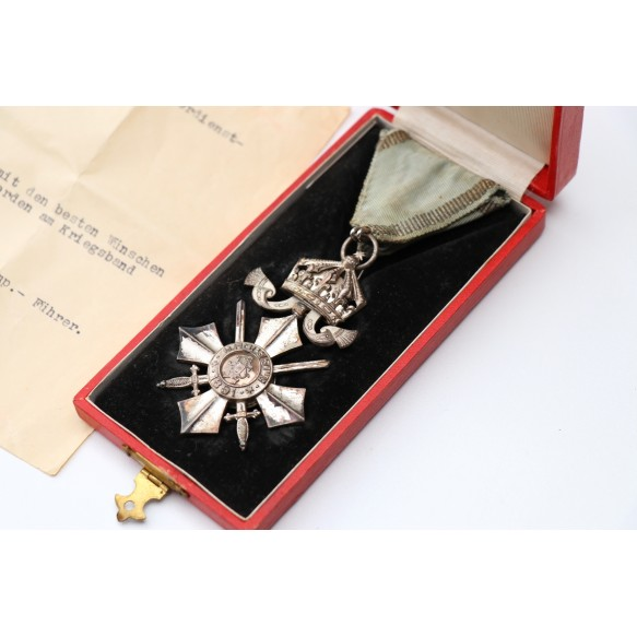 Bulgarian order of the crown + box + ribbon bar + preliminary award dcoument