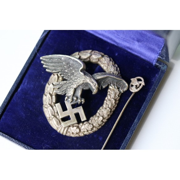 Luftwaffe observer badge by Paul Meybauer + box + miniature