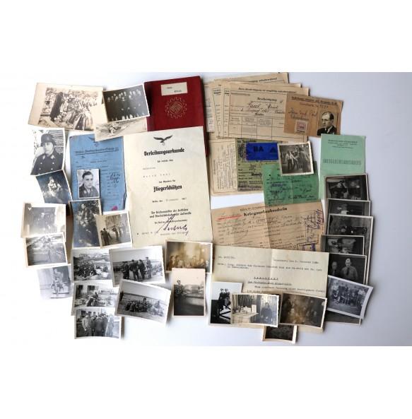 Luftwaffe grouping to airgunner Uffz. Erich Paul, award document, photos, pases,...