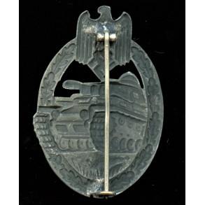 Panzer assault badge in silver by Friedrich Linden, hollow variant