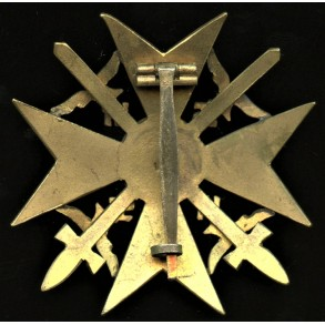 """Spanish cross in gold with swords by C.E. Juncker """"L/12"""""""