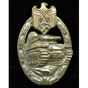 Panzer assault badge in silver by W. Deumer, early tombak