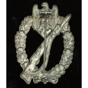 """Infantry assault badge in silver by P&L, """"L/18"""" pin mark!"""