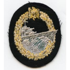 Kriegsmarine destroyer badge in cloth, original price 0.70RM