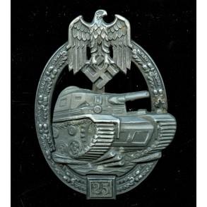 Panzer assault badge in silver, 25 assaults by Josef Feix