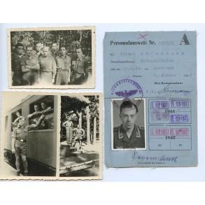 Luftwaffe ID card to Uffz Helmut Severmann, Luftgaupostambt Berlin 1944 + 3 photos