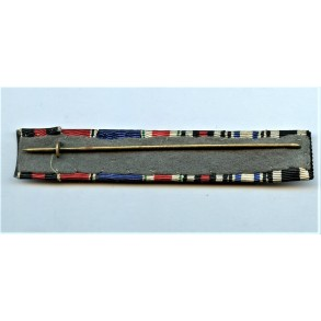 7 place ribbon bar with iron cross clasp, Bavarian merit cross with swords and crown