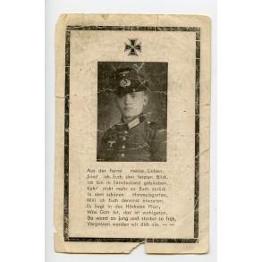 "Death card to H. Peters ""Sturmabz. der nahkampfspange 1 Klasse""."