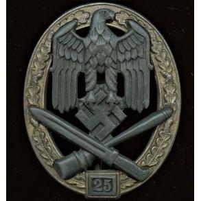 General assault badge in silver 25 assaults by Josef Feix.
