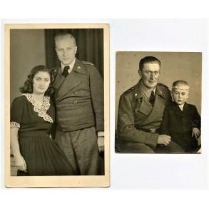 2 portrait photos Stug artillery member with family