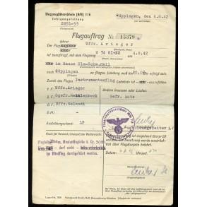 "Flugauftrag for airplane Junkers ""W34"" GI+NS, instrumentenflug 1942"