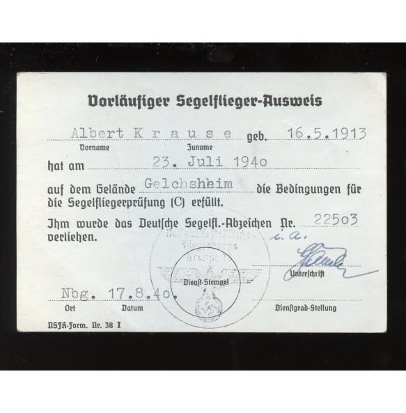 Award document, glider pilot grade C