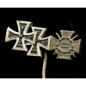 3 place miniature, 1914 EK1+2 + 1914-18 honour cross