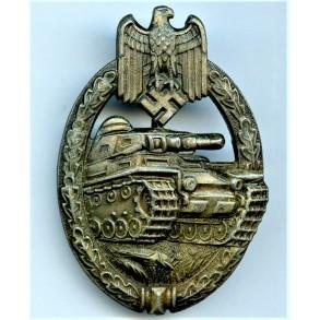 Panzer assault badge in bronze by Friedrich Linden
