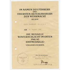 East front medal award document NB552