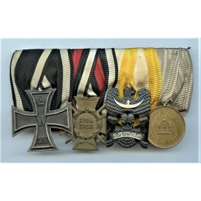 Imperial medal bar with 1914 iron cross and Silesian Eagle 2nd class
