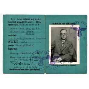 Pass to Justizsekretär Peter Gross, district court of Sinzig (Rhein) 1940