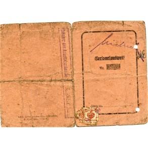 """ID card for resident of Neutomischel in Posen """"Volksdeutscher"""", Poland 1943"""