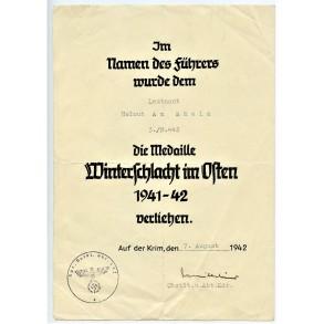 East front medal award document to Leutnant Helmut am Rhein