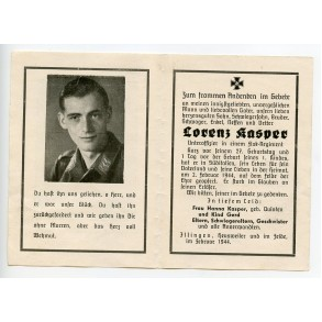 Death card to Lorenz Kasper, NCO Flak Reg. KIA South Italy 2.2.1944