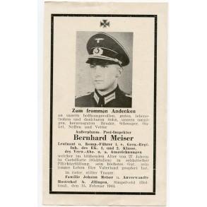 Death card to Leutnant Bernhard Meiser, KIA Italy, Castelforte Feb. 1944