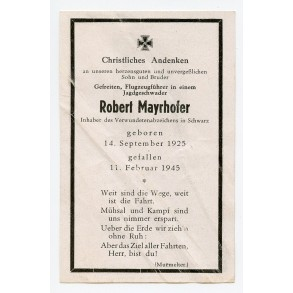 Death card to ME-109 fighter pilot R. Mayhofer JG11