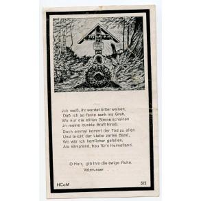 Death card to Obergefr. J. Schranz, Gebirgsjäger 1944