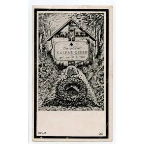 Death card to Obergefr. K. Deser, Gebirgsjäger, KIA Hungary/Bratislava 1945
