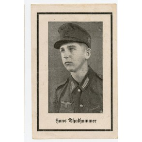 Deat card mountain troopger GJ H. Thalhammer, KIA Kuban 1943