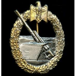 "Kriegsmarine coastal artillery badge by Hermann Aurich ""HA"""