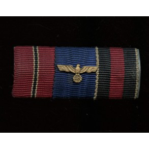 3 place ribbon bar with east front medal, 4yr service and Czech annexation medal