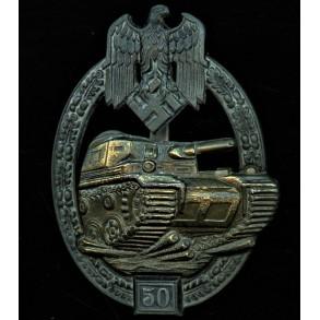 Panzer assault badge in bronze 50 assaults by Josef Feix