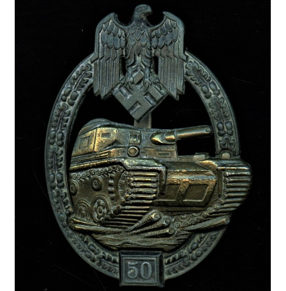 Panzer assault badge in bronze 50 assaults by Josef Feix