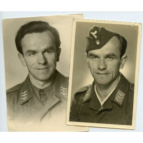 2 portraits Luftwaffe Obergefreiter in Hilversum, Holland 1942