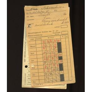 NAF (Nederlandsche Arbeidsfront) card, Schoonhoven, Holland 1943