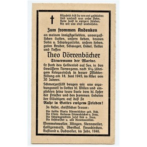 Death card to T. Dörrenbächer, KIA 18.6.45 mine clearance operations Norway!